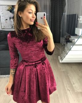 Spring Velvet Mini Dress Women Casual Three Quarter Sleeve Party Dress