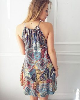 Summer Women Boho Sleeveless Printed Short Dress