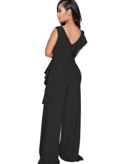 V Neck Ruffles Asymmetrical Women Workwear Jumpsuit