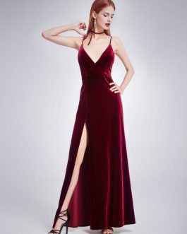 Velvet Prom Evening Floor Length Formal Slip Dress