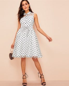 33dca5578b2 Vintage White Polka Dot Midi Party Women Summer Shirt Dress ...