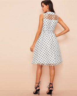Vintage White Polka Dot Midi Party Women Summer Shirt Dress