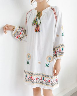 White Boho Long Sleeve Ethnic Embroidered Tassels Shift Dress