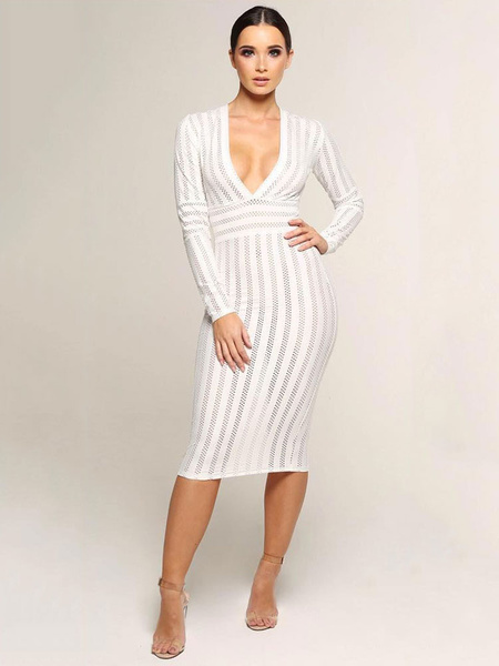 ccd692b59f7 White Party Dress Long Sleeve Bodycon Dress Plunging Shaping Sexy Midi Dress