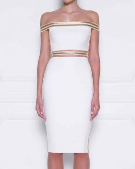 White Party Dress Off The Shoulder Midi Dress Cut Out Metal Details Bodycon Dress