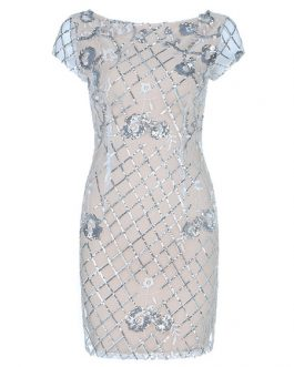 White Party Dress Sequined Short Sleeve Round Neck Bodycon Dress