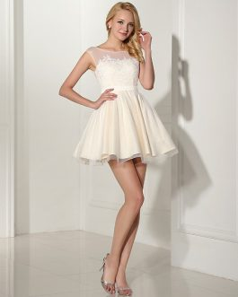 White Prom O-Neck Knee Length Graduation Party Gowns