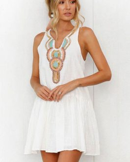 White Summer Dress Boho V Neck Buttons Printed Mini Dress