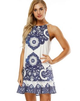 White Summer Printed Boho Dress Backless Mini Dress