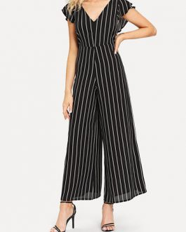 Wide Leg Jumpsuit Black V Neck Short Sleeve Striped Jumpsuit For Women