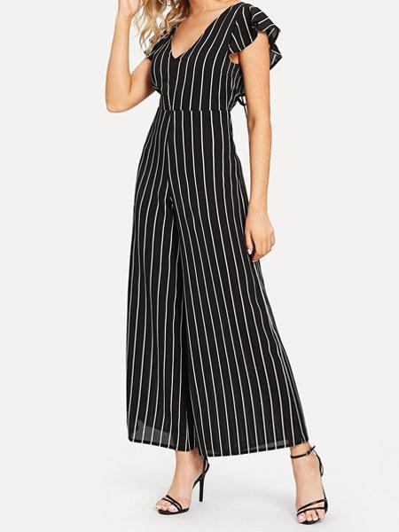 8019a8cb Wide Leg Jumpsuit Black V Neck Short Sleeve Striped Jumpsuit For Women