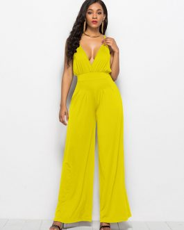 Wide Leg Jumpsuit Sleeveless Plunging Straps Summer Jumpsuit