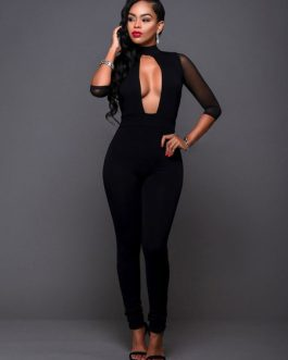 Women Black Half Sleeve Cut Out High Collar Semi Sheer Skinny Sexy Jumpsuit