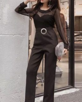 Women Black Jumpsuit Long Sleeve Round Neck Buckle Wide Leg Jumpsuit