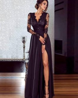 Women Black Long Dress Illusion Sleeves High Split Lace And Chiffon Sexy Dress