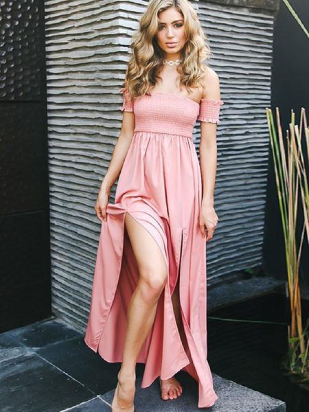 5c58c3dee4 Women Boho Short Sleeve Slit Long Maxi Dress - Power Day Sale
