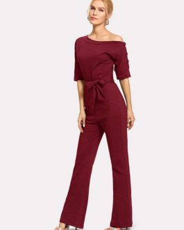 Women Casual Jumpsuit Half Sleeve Bateau Neck Knotted Straight Leg Jumpsuit