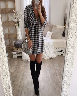 Women Casual Plaid Long Sleeve Mini Short Dresses