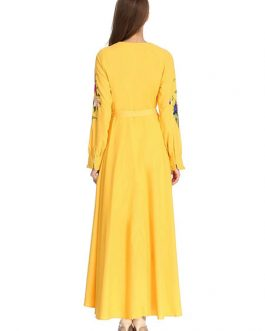 Women Long Sleeves Embroidered Empire Party Dress With Belt