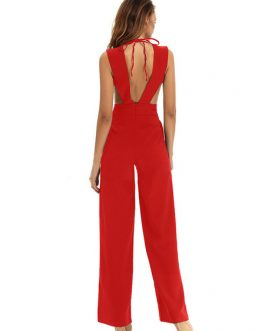 Women Sexy Jumpsuit Sleeveless Plunging Straight Leg Jumpsuit