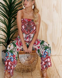 Women Strapless Floral Print Sexy Jumpsuits Spring Summer Dress