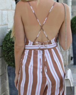 Women Striped Jumpsuit Adjustable Straps Sleeveless Cross Back Straight Leg Jumpsuit