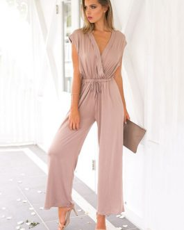 Women Wrap Jumpsuit V Neck Drawstring Sleeveless Salmon Wide Leg Jumpsuit