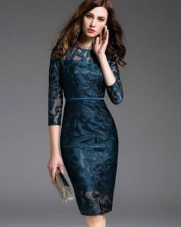 Women's Wrap Dress Lace Jewel Neck Bodycon Dress