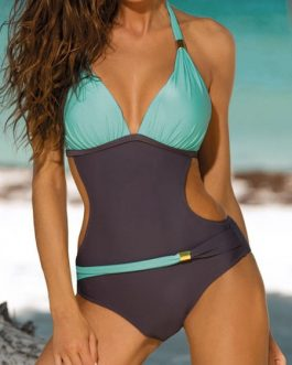 Bathing Suits Two Tone Metal Details One Piece Swimsuit For Women