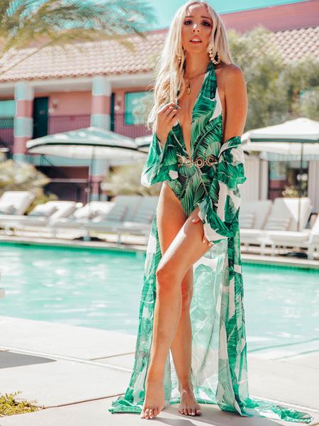 a1128cd3a0 Beach Cover Up Tropical Print Chiffon Long Sleeve Women Bathing Suit ...
