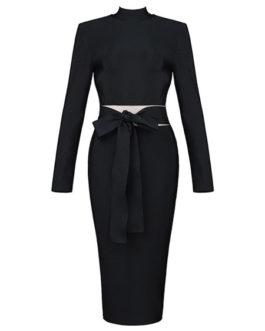 Black Bodyon Dress Bows Split Party Dress