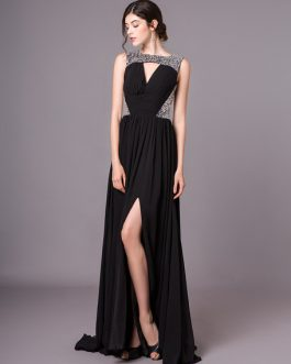 Black Evening Sexy Cutout Pleated Long Prom Dress