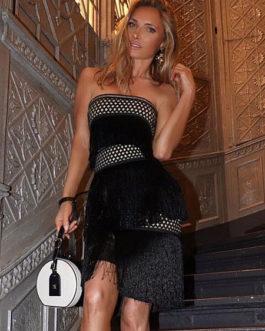 Black Party Dress Strapless Fringe Two Tone Sexy Bodycon Dress