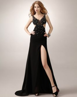Black Prom Long Backless Evening Chiffon Formal Dresses