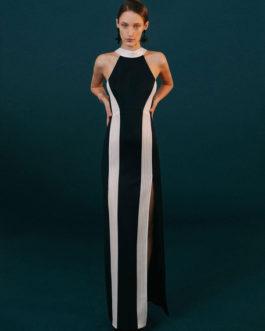 Black Sleeveless Crewneck Striped Party Maxi Dress
