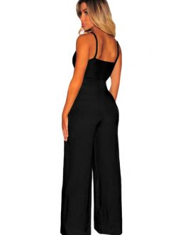 Black Straps Cut Out Wide Leg Jumpsuit