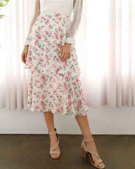 Bohemian Floral Print Tiered Layered Ruffle Womens Summer Skirt