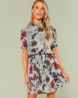 Bohemian Beach Ruffle Floral Stand Collar Dress