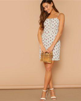 Boho Calico Print Frilled Trim Knot Slim Cami Dress