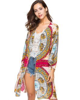Boho Cover Up Kimono Ethnic Print Open Front Women Beachwear