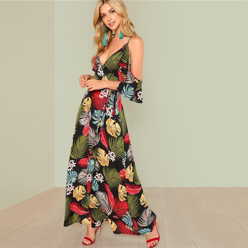 565e0dbec3 Boho Floral Print Sexy Deep V Neck Open Shoulder Maxi Dress - Power ...