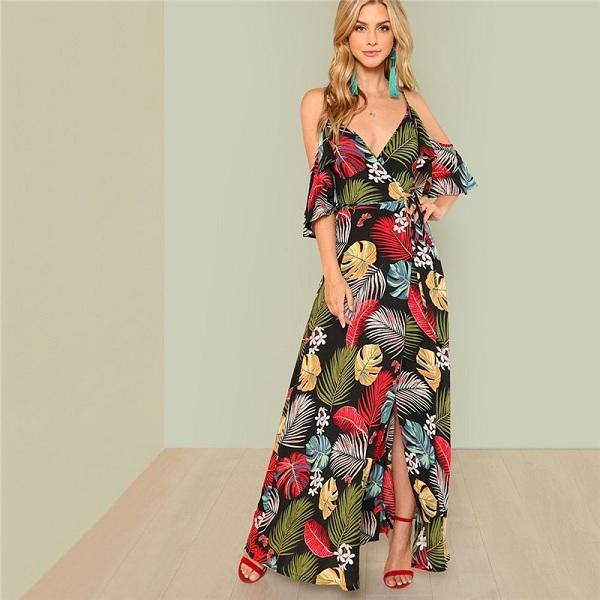 2b1d8de147 Boho Floral Print Sexy Deep V Neck Open Shoulder Maxi Dress - Power Day Sale
