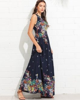 Boho Knot Back Ruffle Trim Botanical Casual Maxi Dress
