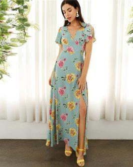 Boho Surplice Neck High Split Floral and Dot Maxi Dress
