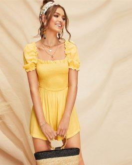 Boho Yellow Mini Plain Romper Spring Casual Women Playsuit