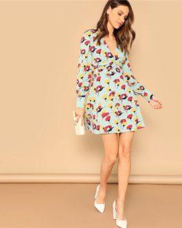 Button Front Deep V Neck Floral Print Mini A Line Dress