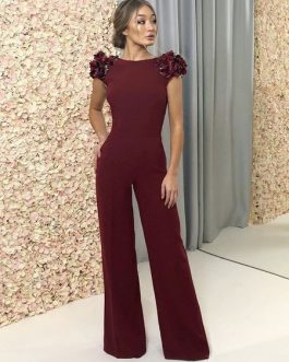 Cape Sleeve Flower Backless Burgundy Jumpsuit