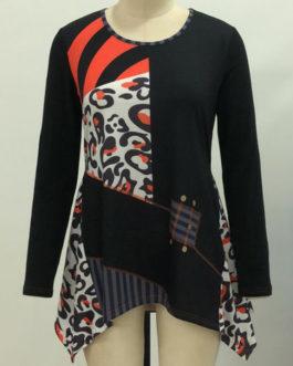 Casual Women Print Irregular Hem Long Sleeve Blouse
