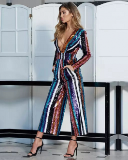 f516797f6d6 Celebrity Runway Sequined Sexy Romper Jumpsuit ...