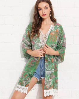 Chiffon Kimono Lace Trim Printed Beach Cover Up